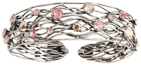 bracelet bangle Cages beige/pink antique silver size L