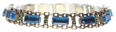 bracelet Empire States Incas blue/green antique brass