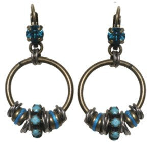 earring eurowire dangling Beduin blue antique silver/antique brass