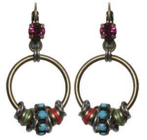 earring eurowire dangling Beduin multi/turquoise antique silver/antique brass