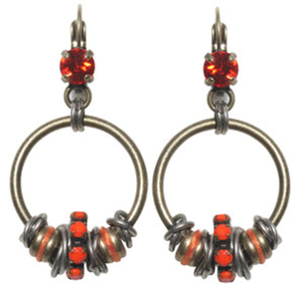 earring eurowire dangling Beduin orange antique silver/antique brass