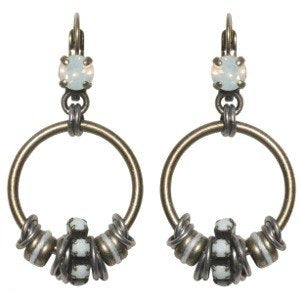 earring eurowire dangling Beduin white/opac antique silver/antique brass