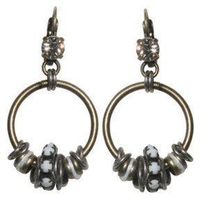 earring eurowire dangling Beduin white antique silver/antique brass
