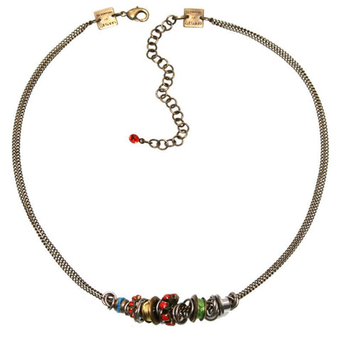 necklace Beduin multi/red antique silver/antique brass