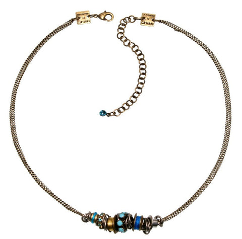 necklace Beduin blue antique silver/antique brass
