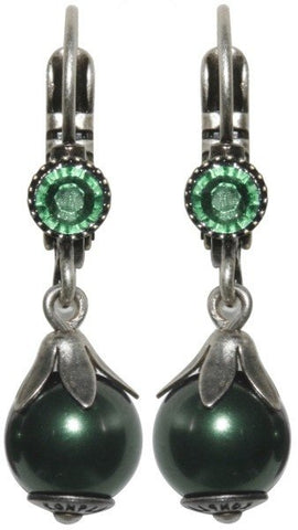 earring eurowire dangling Pearl Shadow green Very Light Antique Silver