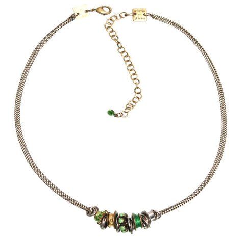 necklace Beduin green antique silver/antique brass