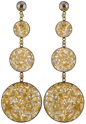 earring stud dangling Studio 54 yellow antique brass size L,S,XS