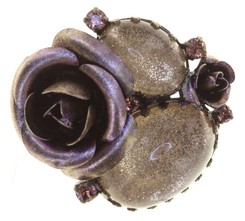brooch They Call Me The Wild Rose beige antique brass