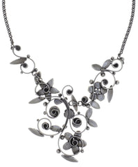 necklace Twisted Flower brown antique silver