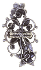 ring Twisted Flower brown antique silver