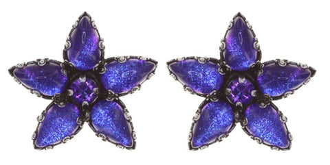 earring stud Twisted Flower blue/lila antique silver