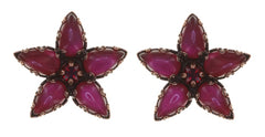 earring stud Twisted Flower red antique copper