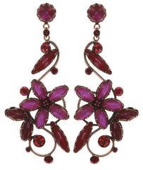 earring stud dangling Twisted Flower red antique copper