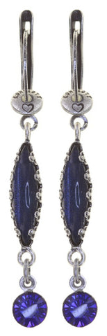earring dangling Twisted Flower blue/lila antique silver