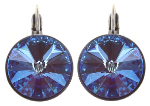 earring eurowire Rivoli blue/lila antique silver 14mm