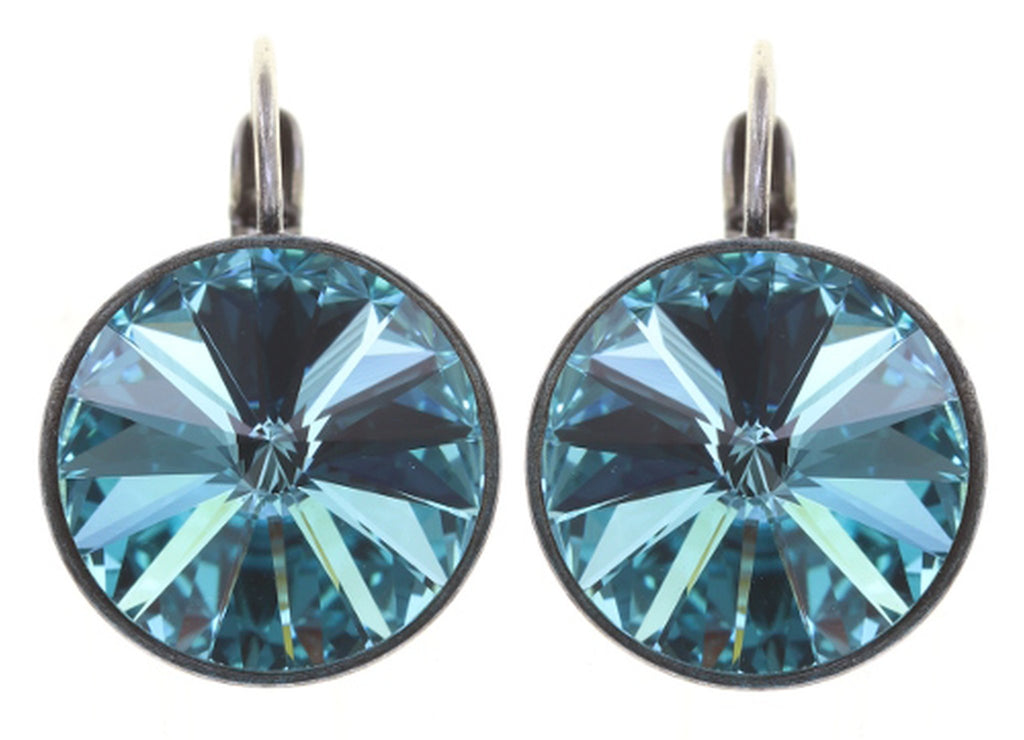 earring eurowire Rivoli blue antique silver 14mm