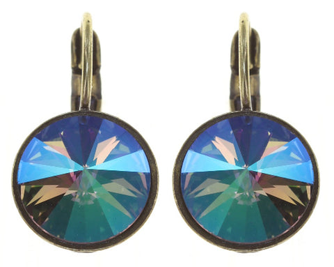 earring eurowire Rivoli lila antique brass