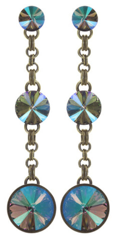 earring stud dangling Rivoli lila antique brass
