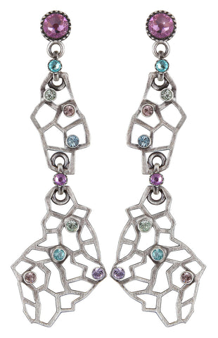 earring stud dangling Textures Under The Sea hyper pastels antique silver