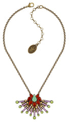 necklace Geisha lotus kimono Light antique brass size M