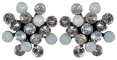 earring stud Magic Fireball pearly white antique silver mini