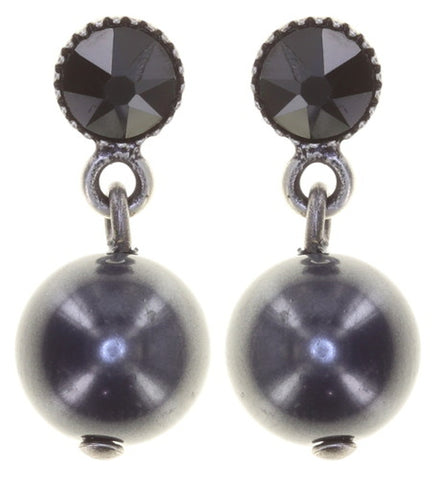 earring stud dangling Pearl Shadow black antique silver