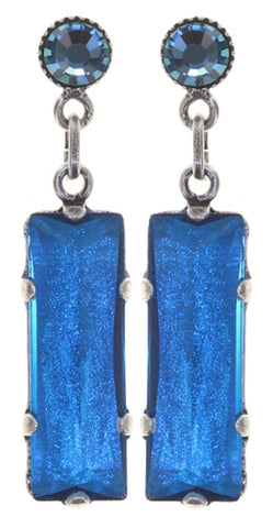 earring stud dangling Mix the Rocks crystal blue antique silver