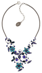 necklace Twisted Flower blue/lila antique silver