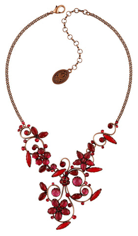 necklace Twisted Flower red antique copper