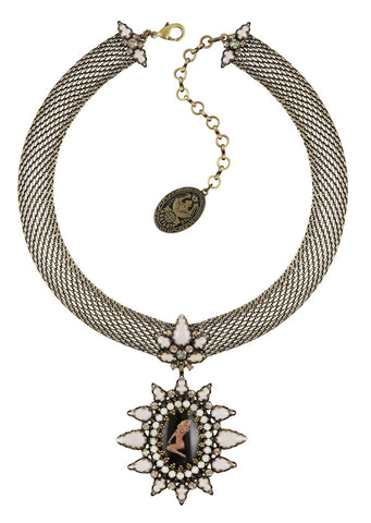 necklace Striptease black/white Light antique brass