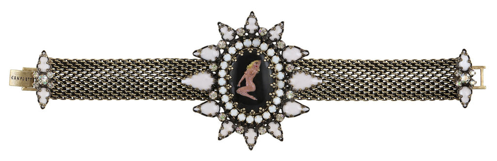 bracelet Striptease black/white Light antique brass size XL