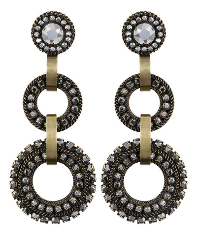 earring clip dangling Rock 'n' Glam grey antique brass