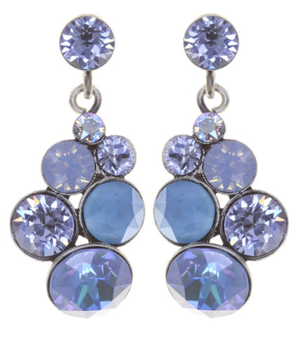 earring stud dangling Petit Glamour soft water blue antique silver
