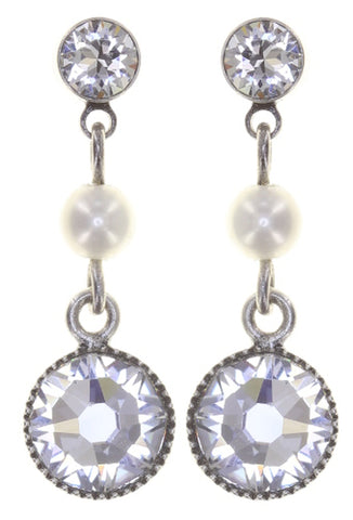 earring stud dangling Pearl Shadow white antique silver