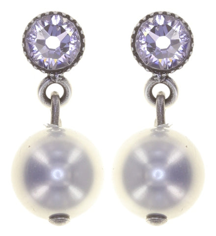 earring stud dangling Pearl Shadow grey antique silver