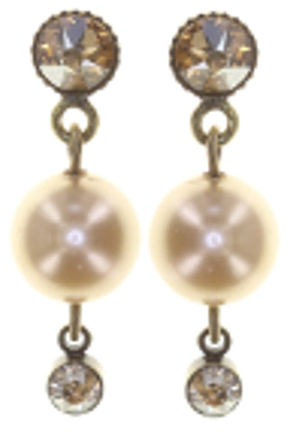 earring stud dangling Pearl Shadow brown antique brass
