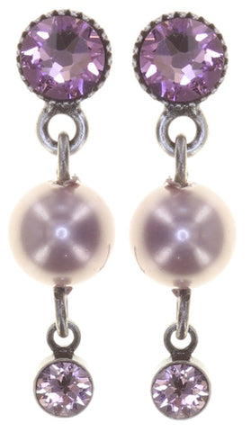 earring stud dangling Pearl Shadow pink antique silver