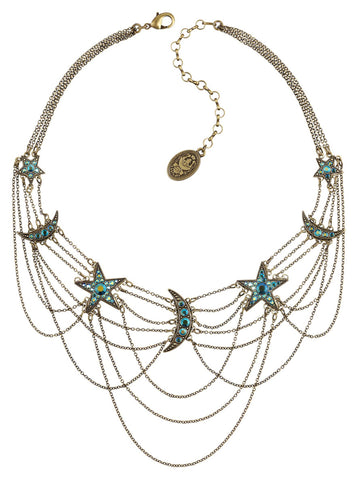 necklace Sky Lights blue antique brass size L,S