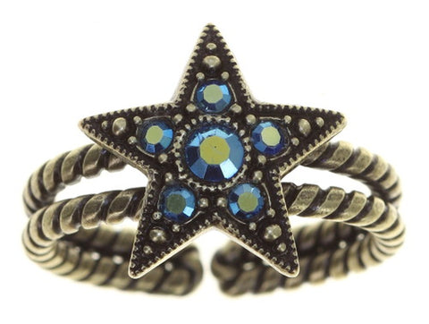 ring Dancing Star blue antique brass size S