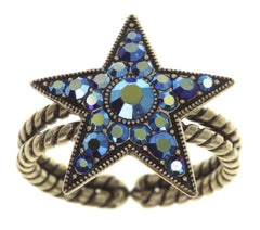 ring Dancing Star blue antique brass size M