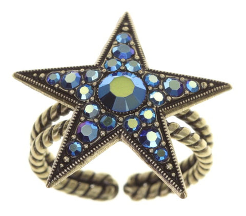 ring Dancing Star blue antique brass size L