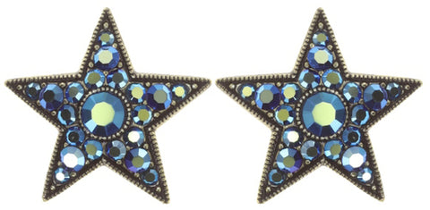 earring stud Dancing Star blue antique brass size M