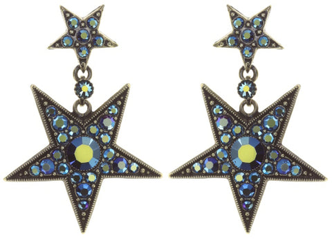 earring stud dangling Dancing Star blue antique brass size L,XS