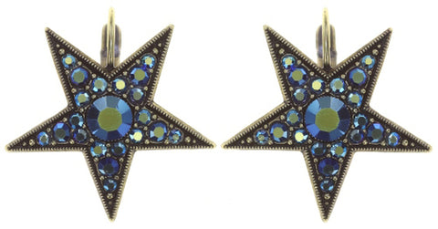 earring eurowire Dancing Star blue antique brass size L