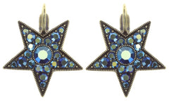 earring eurowire Dancing Star blue antique brass size M