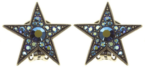 earring clip Dancing Star blue antique brass size M