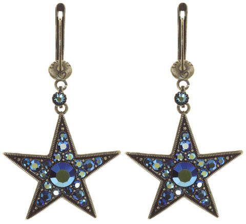 earring dangling Dancing Star blue antique brass size L