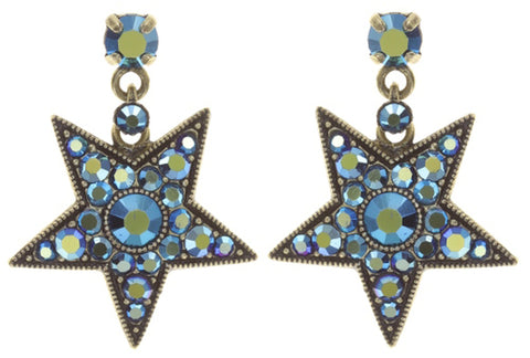 earring stud dangling Dancing Star blue antique brass size M