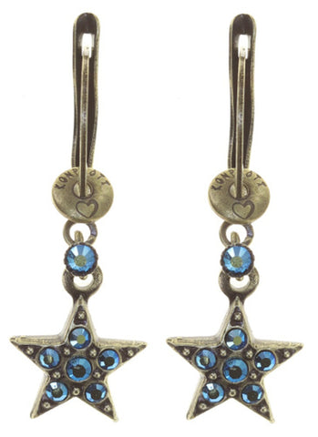earring dangling Dancing Star blue antique brass size XS